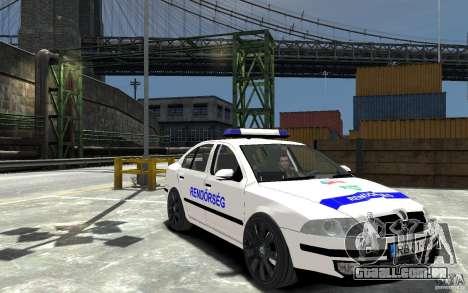 Skoda Octavia 2005 Hungarian Police para GTA 4 vista de volta