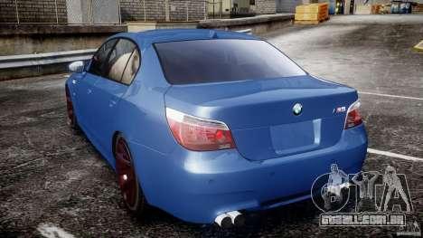BMW M5 E60 2009 para GTA 4 traseira esquerda vista