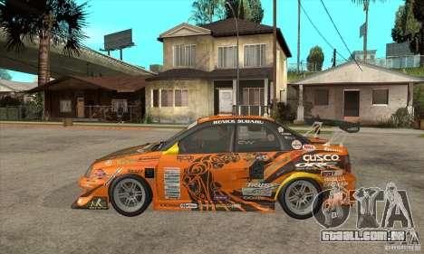 Subaru Impreza D1 WRX Yukes Team Orange para GTA San Andreas esquerda vista