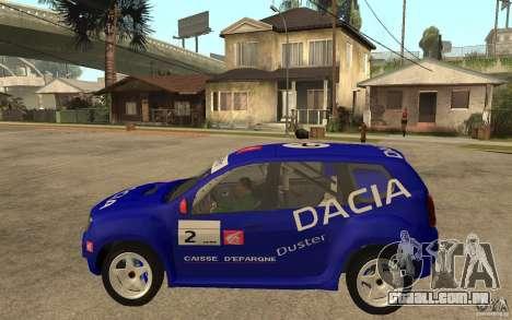 Dacia Duster Rally para GTA San Andreas esquerda vista