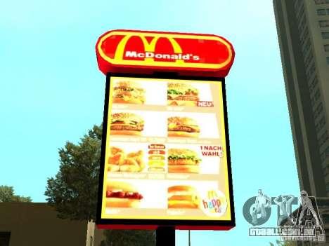 Mc Donalds para GTA San Andreas twelth tela