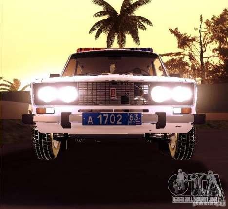 VAZ 2106 polícia v 2.0 para GTA San Andreas vista traseira