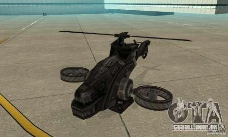 Um helicóptero do jogo TimeShift Black para GTA San Andreas esquerda vista