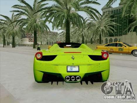 Ferrari 458 Spider para GTA San Andreas vista direita