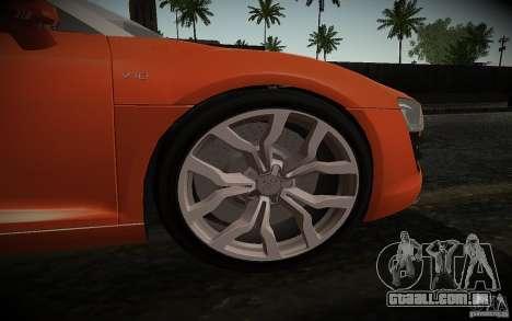 Audi R8 V10 Spyder 5.2. FSI para GTA San Andreas vista traseira