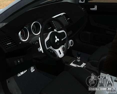 Mitsubishi Lancer Evolution X PPP polícia para GTA San Andreas vista direita