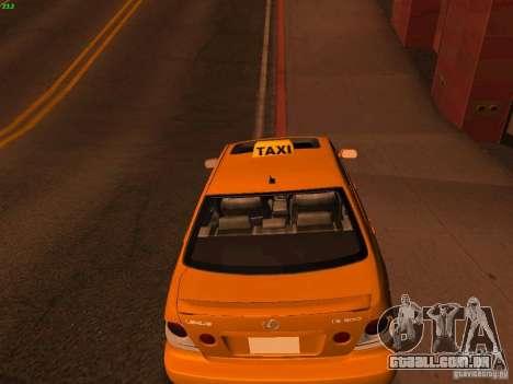 Lexus IS300 Taxi para GTA San Andreas traseira esquerda vista