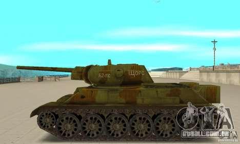 Tanque T-34/76 para GTA San Andreas esquerda vista