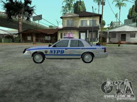 Ford Crown Victoria NYPD para GTA San Andreas esquerda vista