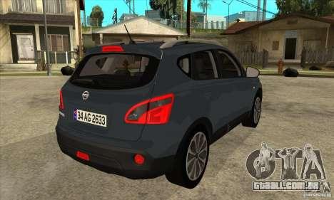 Nissan Qashqai 2011 para GTA San Andreas vista direita