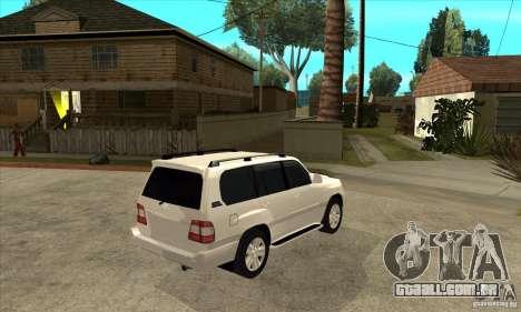 Toyota Land Cruiser 100vx v2.1 para GTA San Andreas vista traseira