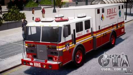 LCFD Hazmat Truck v1.3 para GTA 4 vista de volta