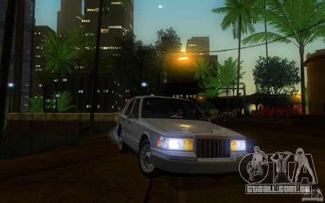 Lincoln Towncar 1991 para GTA San Andreas vista interior