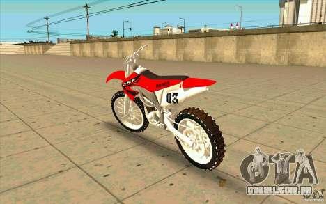 Honda CRF450R Extreme Edition FINAL para GTA San Andreas traseira esquerda vista