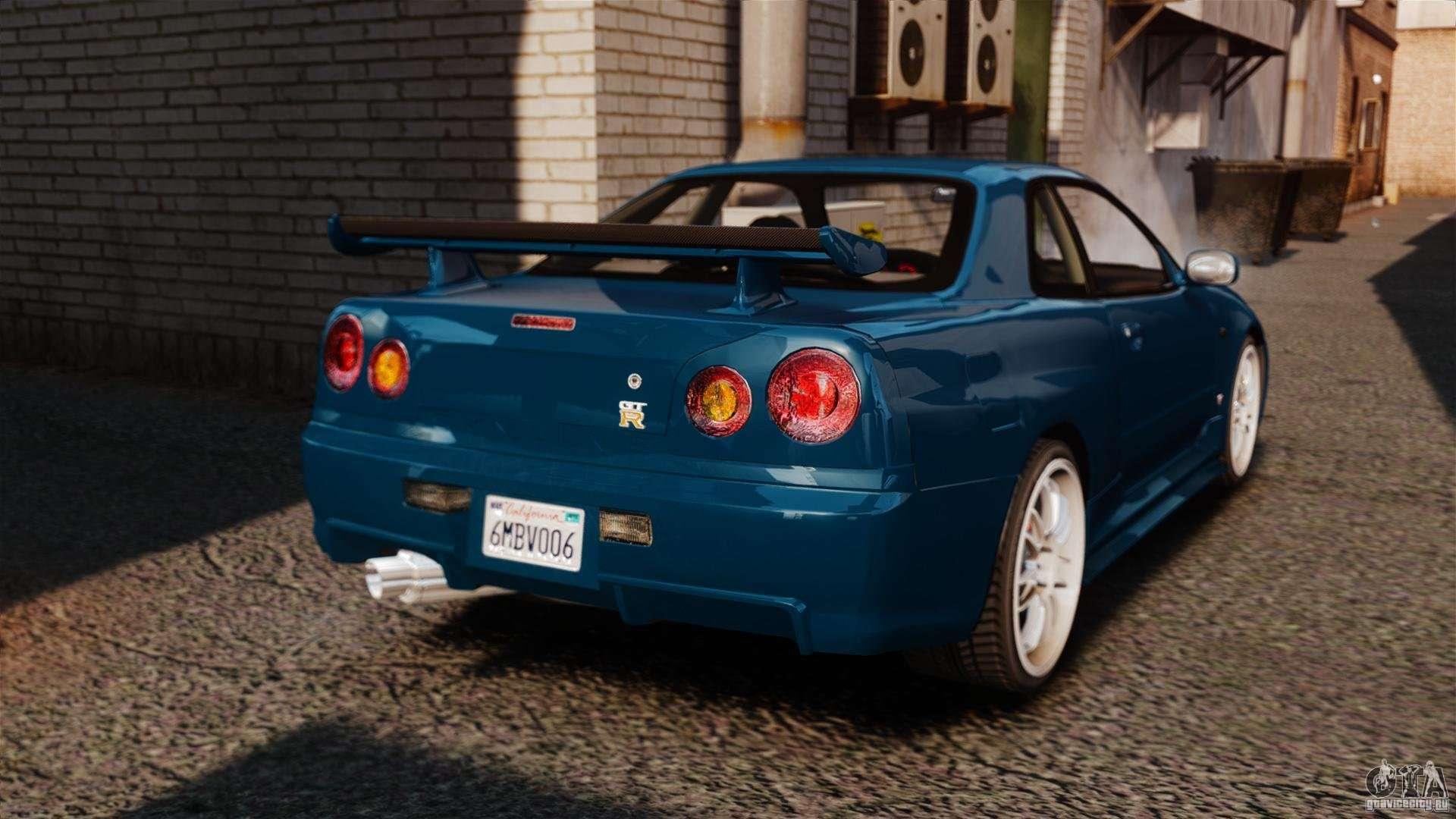 Nissan Skyline GT R R34 Fast And Furious 4 Para GTA 4 Traseira Esquerda  Vista