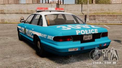 LCPD Police Cruiser para GTA 4 traseira esquerda vista