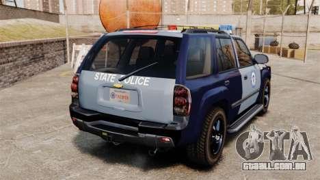 Chevrolet Trailblazer 2002 Massachusetts Police para GTA 4 traseira esquerda vista