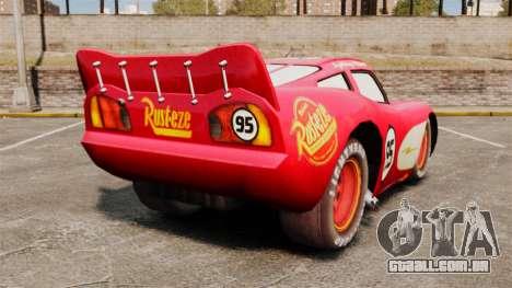 Relâmpago McQueen v 1.2 para GTA 4 traseira esquerda vista
