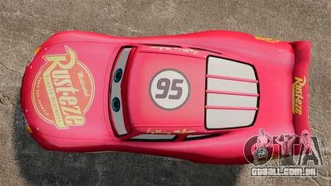 Relâmpago McQueen v 1.2 para GTA 4 vista direita