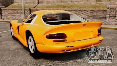 Dodge Viper 1996 para GTA 4 traseira esquerda vista