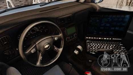 Chevrolet Trailblazer 2002 Massachusetts Police para GTA 4 vista de volta