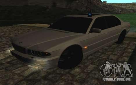 BMW 750iL E38 com luzes piscando para GTA San Andreas vista interior