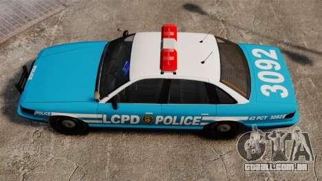 LCPD Police Cruiser para GTA 4 vista direita