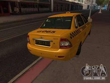 LADA Priora 2170 táxi para GTA San Andreas vista direita