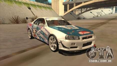 Nissan Skyline R34 Itasha para GTA San Andreas vista traseira