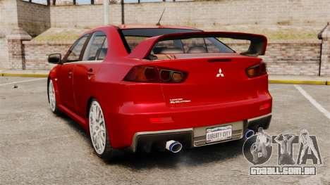 Mitsubishi Lancer Evolution X para GTA 4 traseira esquerda vista