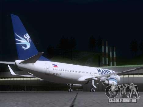 Boeing 737-800 Spirit of Manila Airlines para GTA San Andreas vista direita