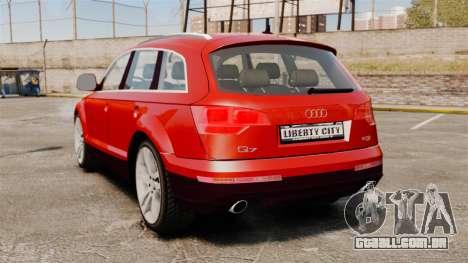 Audi Q7 para GTA 4 traseira esquerda vista