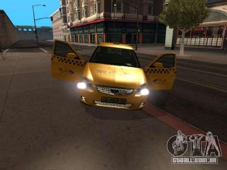 LADA Priora 2170 táxi para GTA San Andreas esquerda vista