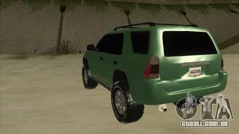 Toyota 4Runner 2009 v2 para GTA San Andreas vista traseira