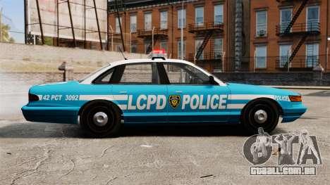 LCPD Police Cruiser para GTA 4 esquerda vista