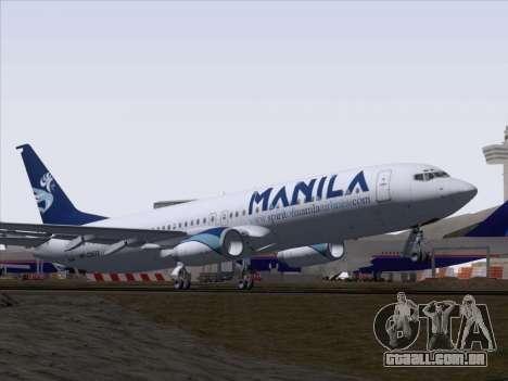 Boeing 737-800 Spirit of Manila Airlines para vista lateral GTA San Andreas