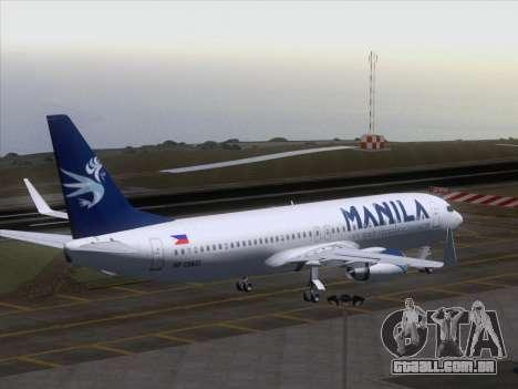 Boeing 737-800 Spirit of Manila Airlines para GTA San Andreas vista inferior