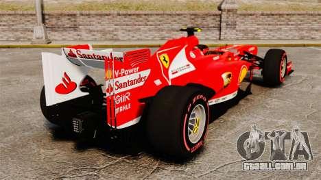 Ferrari F138 2013 v6 para GTA 4 traseira esquerda vista