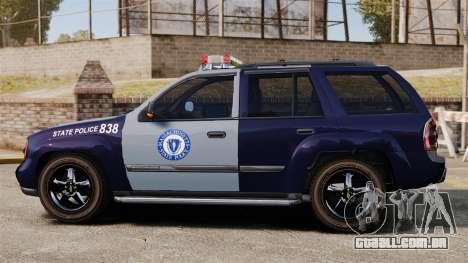 Chevrolet Trailblazer 2002 Massachusetts Police para GTA 4 esquerda vista