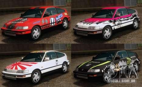 Honda CR-X 1991 para GTA San Andreas interior