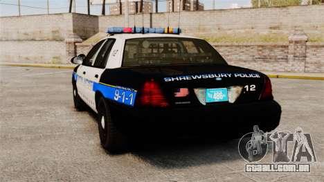 Ford Crown Victoria Police Massachusetts ELS para GTA 4 traseira esquerda vista