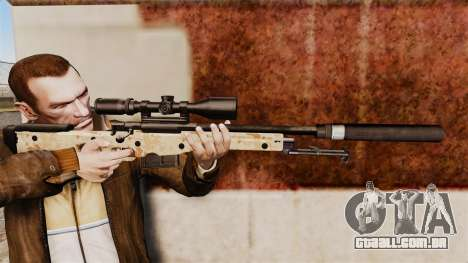 Rifle de sniper L115A1 AW com um silenciador v9 para GTA 4