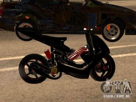 Yamaha Aerox para GTA San Andreas traseira esquerda vista