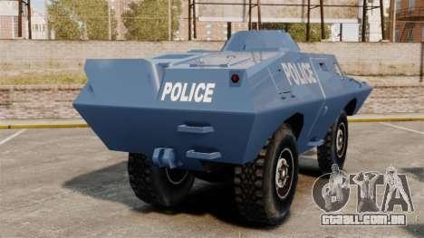S.W.A.T. Police Van para GTA 4 traseira esquerda vista