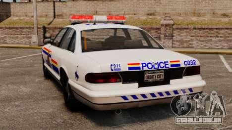 A real polícia montada do Canadá para GTA 4 traseira esquerda vista
