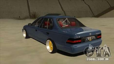 Toyota Corolla 1.6 1997 Hellaflush para GTA San Andreas vista traseira