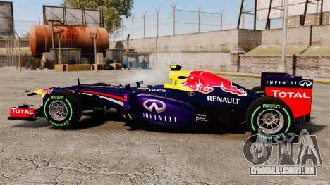 Carro, Red Bull RB9 v3 para GTA 4 esquerda vista