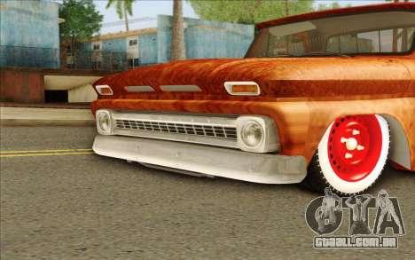 Chevrolet C10 Rat Style para GTA San Andreas traseira esquerda vista