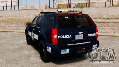 Chevrolet Tahoe 2007 De La Policia Federal [ELS] para GTA 4 traseira esquerda vista