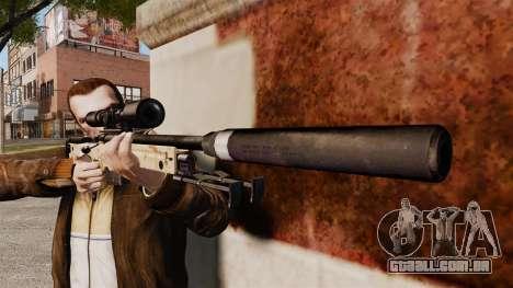 Rifle de sniper L115A1 AW com um silenciador v9 para GTA 4 terceira tela